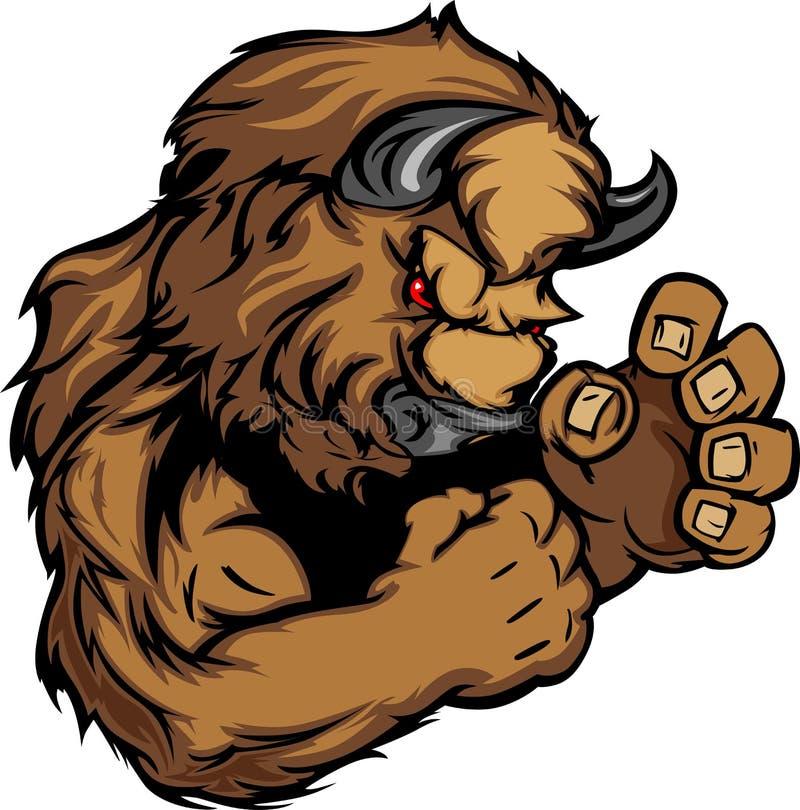Immagine grafica di una mascotte della Buffalo o del bisonte illustrazione vettoriale