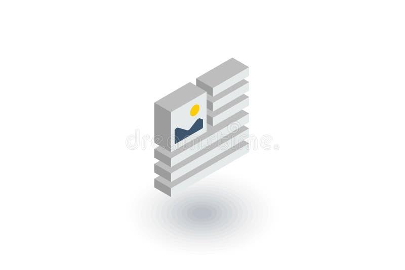 Immagine, immagine e contenuto del testo, icona piana isometrica dell'articolo di stampa vettore 3d illustrazione vettoriale