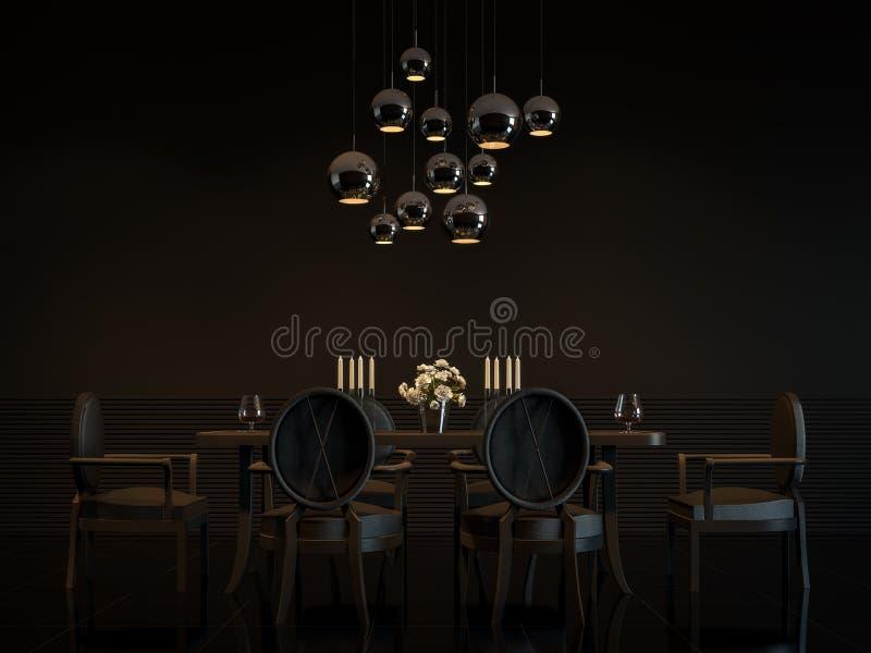 Immagine interna della rappresentazione 3D della sala da pranzo nera di lusso moderna illustrazione di stock