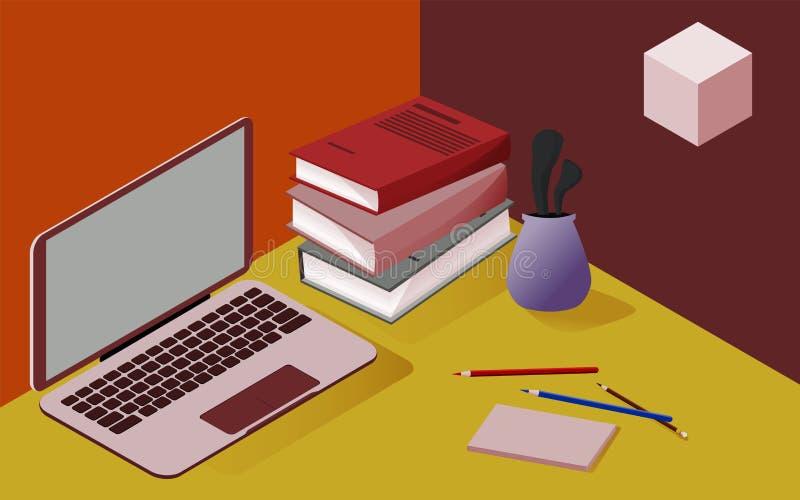 Immagine isometrica tridimensionale nei colori rossi e gialli, a proposito di scuola, affare, scienza, addestramento illustrazione vettoriale