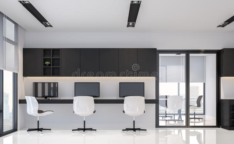 Immagine minima interna della rappresentazione di stile 3d dell'ufficio in bianco e nero moderno illustrazione vettoriale