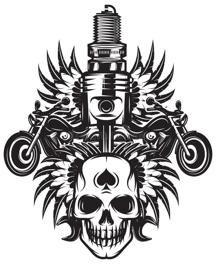 Immagine monocromatica di vettore sul tema del motociclo con il cranio, ali, motore illustrazione di stock