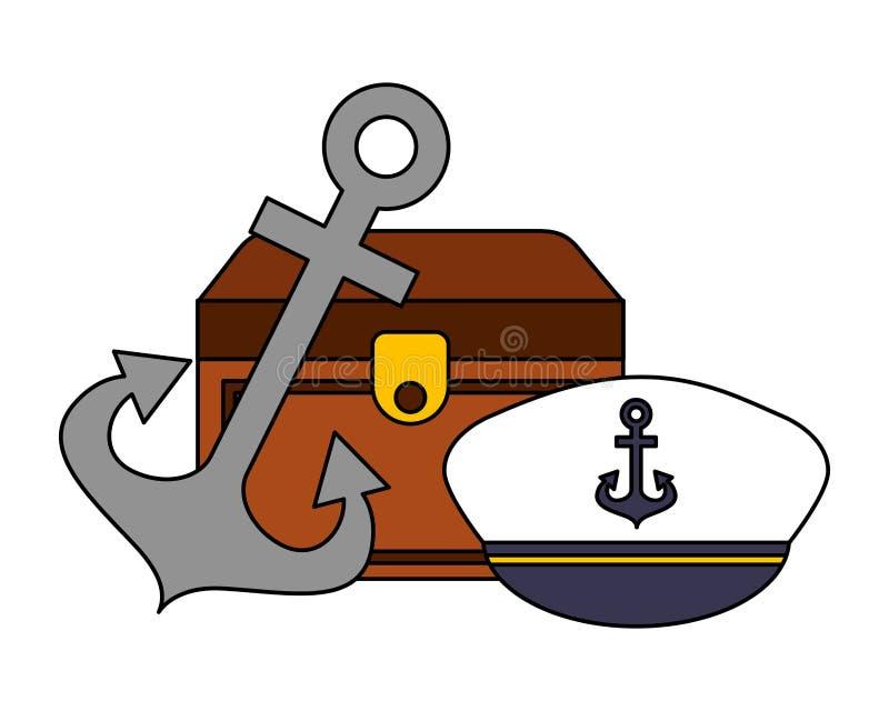 Immagine nautica dell'ancora e del cappello del petto royalty illustrazione gratis
