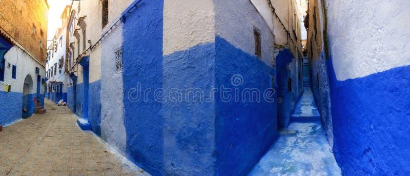 Immagine panoramica del Medina di Chefchaouen, Marocco immagini stock