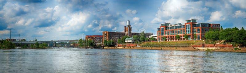 Immagine panoramica delle costruzioni a Columbus del centro, Georgia immagine stock libera da diritti