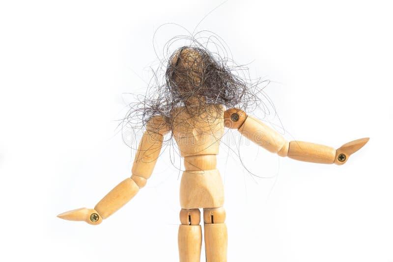 Immagine pazza felice di concetto dell'uomo del burattino Manichino di legno regolabile della bambola su fondo bianco isolato fotografie stock libere da diritti