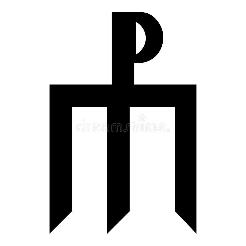 Immagine piana di stile del monogramma di Trident di simbolo di concetto del segno dell'icona del nero di colore dell'illustrazio royalty illustrazione gratis