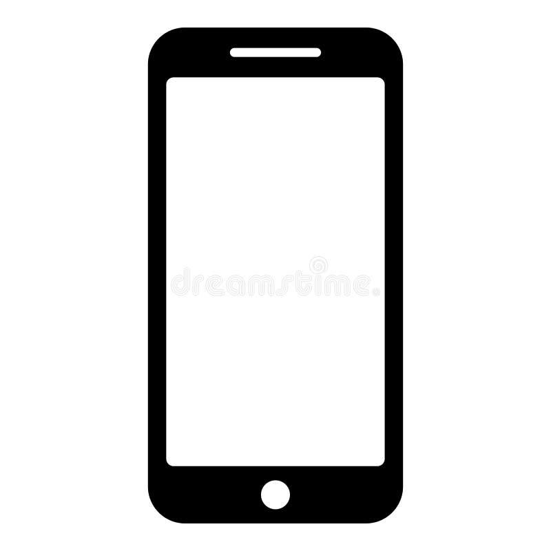 Immagine piana di stile dell'illustrazione di vettore di colore del nero dell'icona di Smartphone illustrazione vettoriale