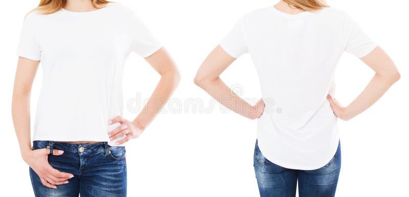 Immagine potata della donna in maglietta alla moda isolata su fondo bianco, spazio in bianco, spazio della copia immagini stock