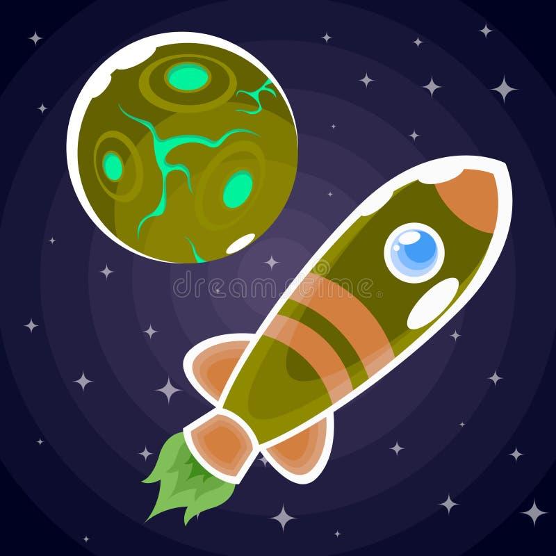 Immagine raster di un razzo verde nei precedenti del pianeta illustrazione vettoriale