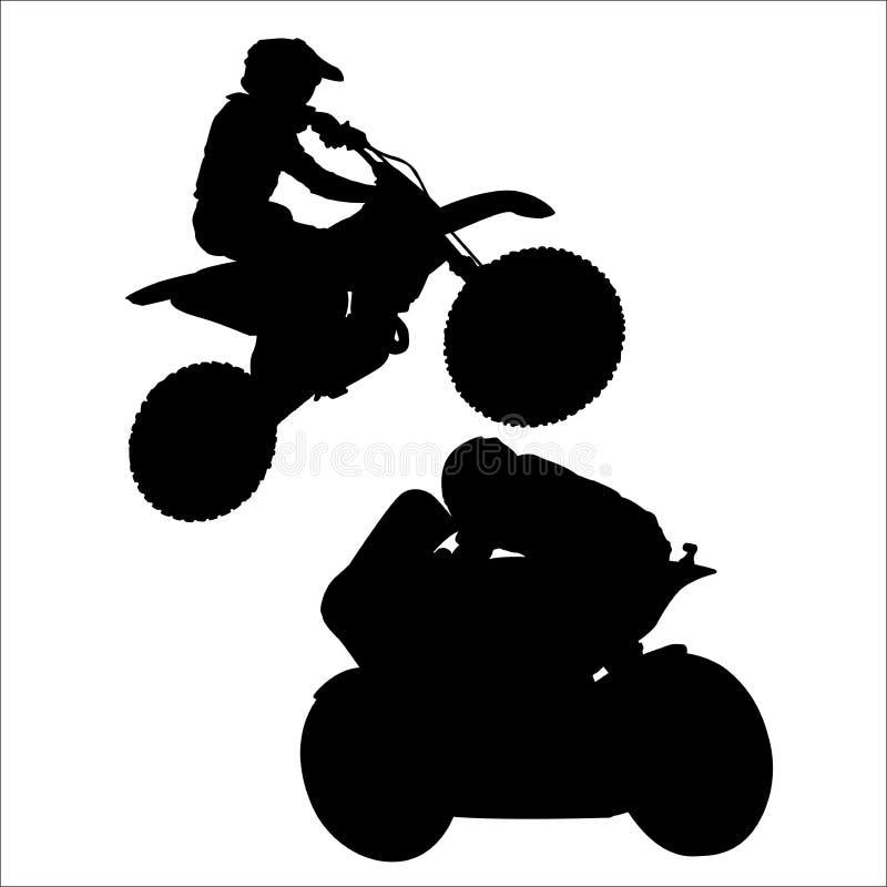 Immagine raster di una siluetta del motociclista su un fondo bianco illustrazione vettoriale