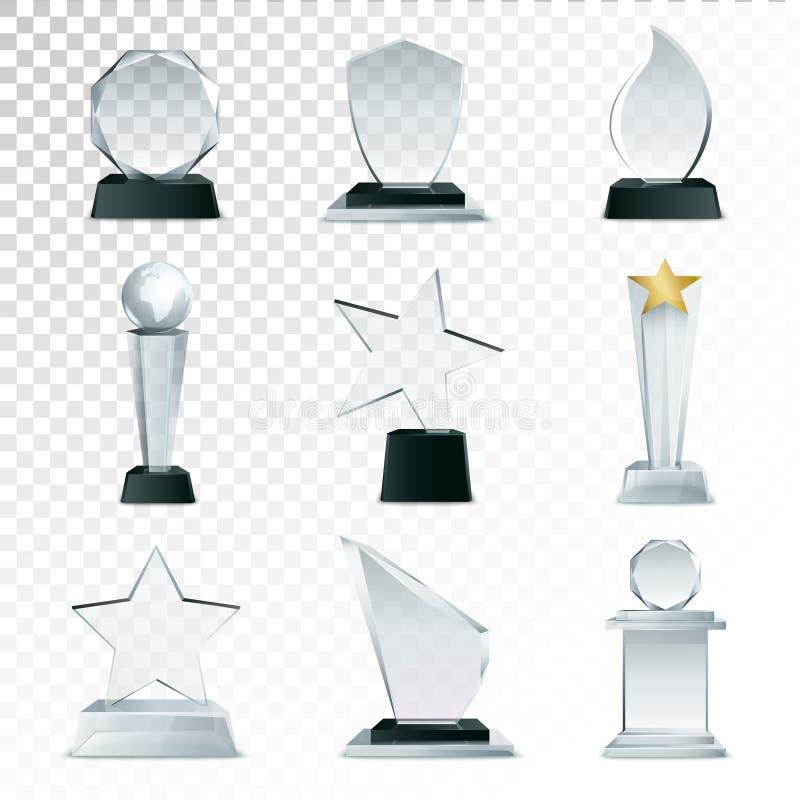 Immagine realistica trasparente della raccolta di vetro dei trofei royalty illustrazione gratis