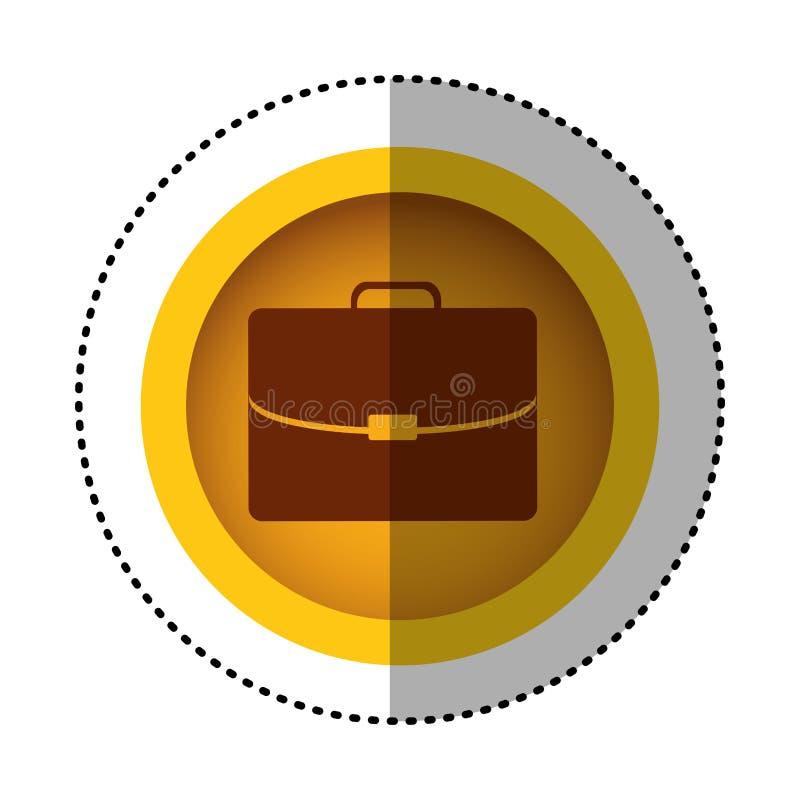 immagine rotonda gialla dell'icona della valigia di affari di simbolo illustrazione di stock