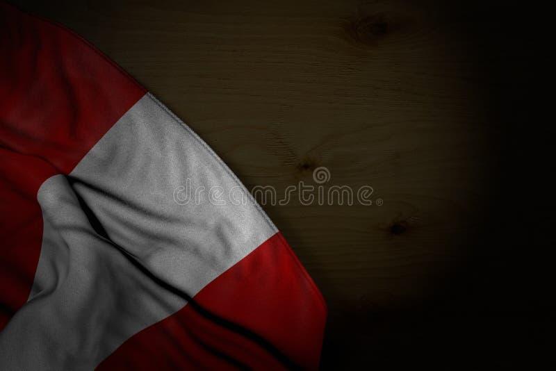 Immagine scura piacevole della bandiera del Perù con i grandi popolare su legno scuro con il posto vuoto per il vostro contenuto  illustrazione di stock