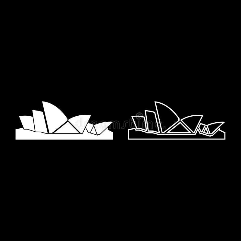 Immagine semplice di colore dell'icona di Sydney Opera House di stile piano bianco stabilito dell'illustrazione illustrazione vettoriale
