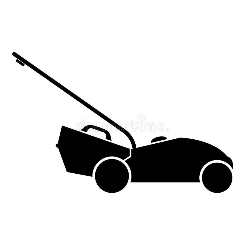 Immagine semplice di stile piano dell'illustrazione di colore del nero dell'icona della falciatrice da giardino royalty illustrazione gratis