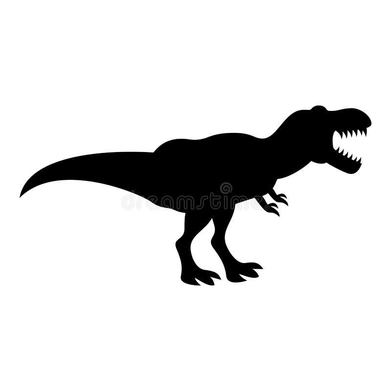 Immagine semplice di stile piano dell'illustrazione di colore del nero dell'icona del rex di tirannosauro t del dinosauro royalty illustrazione gratis