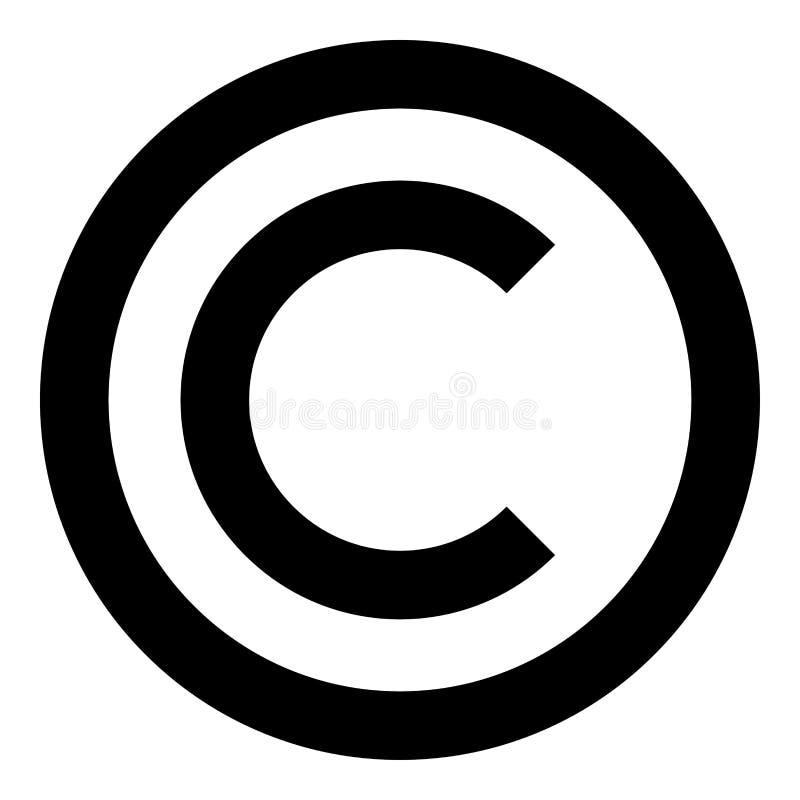 Immagine semplice di stile piano dell'illustrazione di colore del nero dell'icona di simbolo di Copyright illustrazione vettoriale