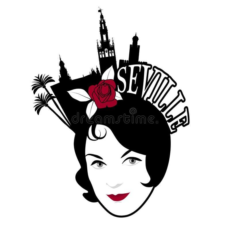 Immagine simbolica di Siviglia Pettine d'uso della donna con i monumenti di Siviglia royalty illustrazione gratis