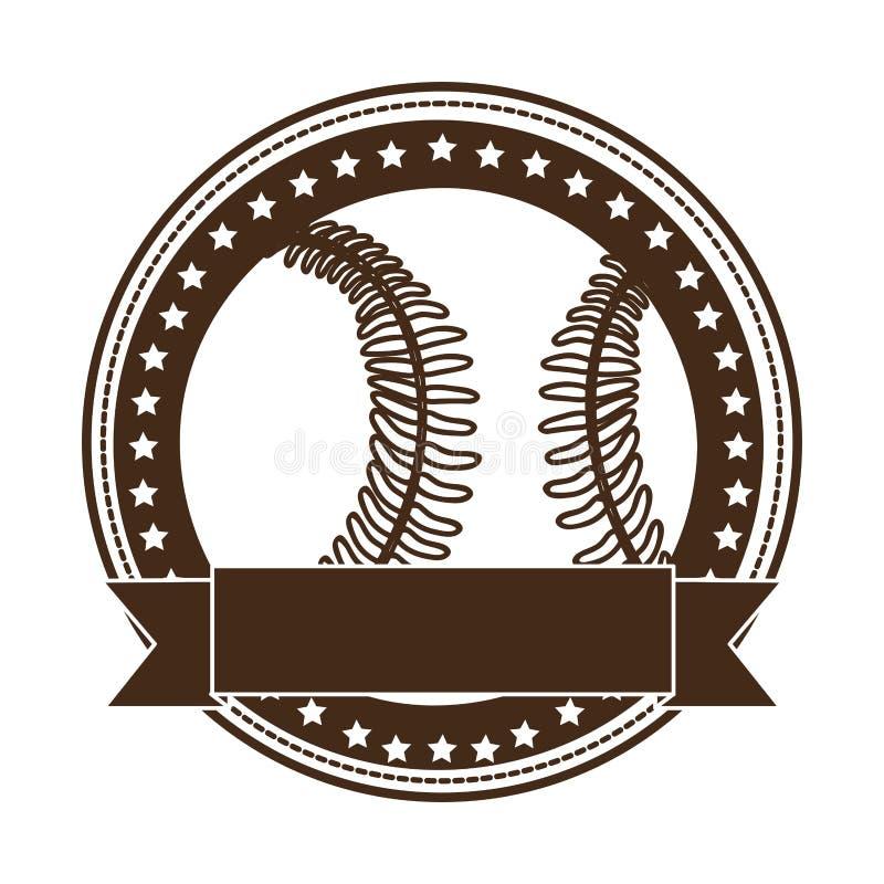 Immagine sobria dell'icona dell'emblema o dell'etichetta di baseball illustrazione di stock