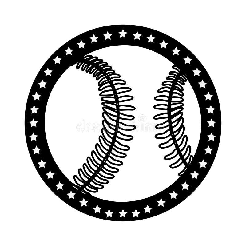 Immagine sobria dell'icona dell'emblema o dell'etichetta di baseball illustrazione vettoriale