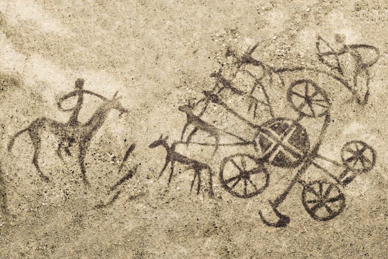 Immagine sulla parete della caverna illustrazione di stock