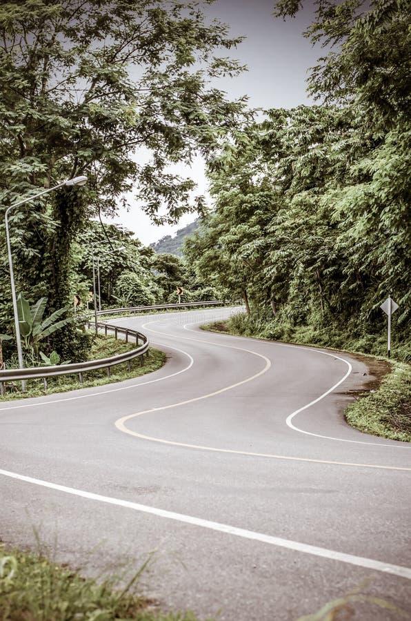 Immagine tonificata annata della strada curva serpente immagini stock