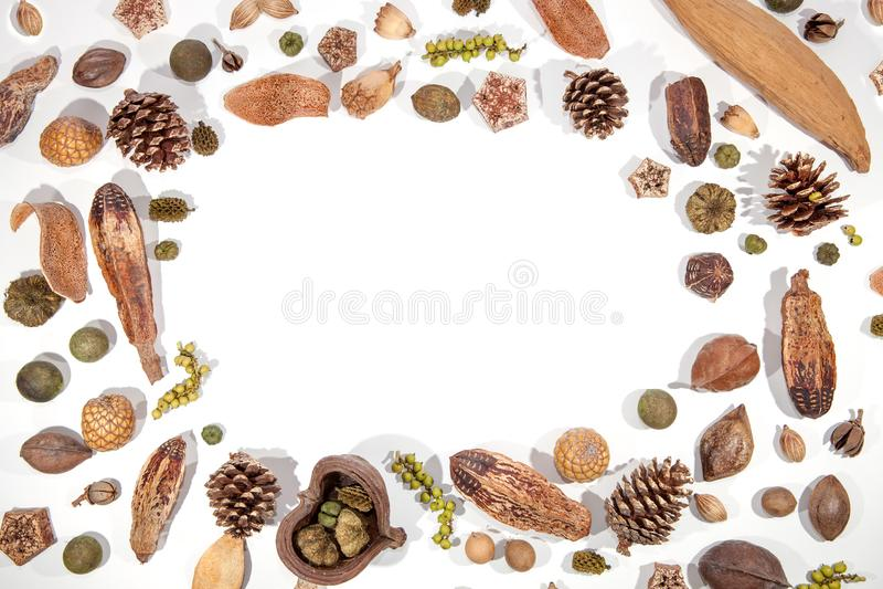 Immagine tradizionale del confine della cartolina di Natale Dadi f delle bacche di Pinecone fotografie stock