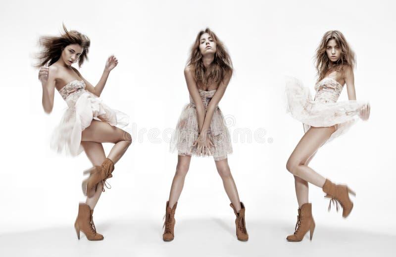 Immagine tripla del modello di moda nelle pose differenti immagine stock libera da diritti