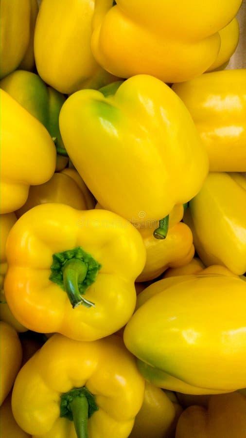 Immagine verticale del primo piano dei peperoni dolci o del paprica in deposito Struttura o modello delle verdure mature fresche fotografia stock libera da diritti