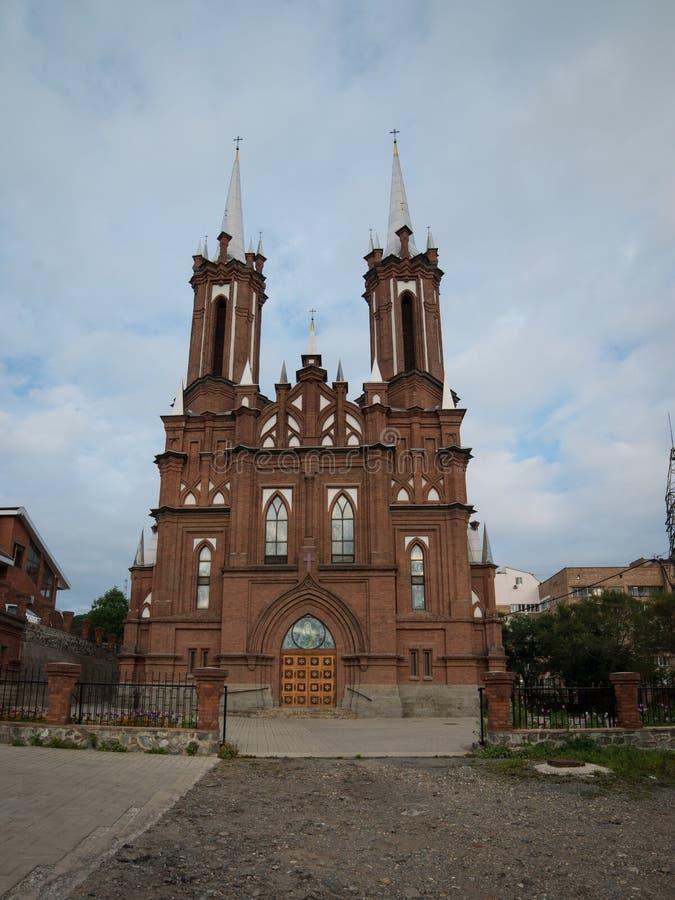 immagine Vladivostok Russia di coeur della chiesa cattolica fotografia stock libera da diritti