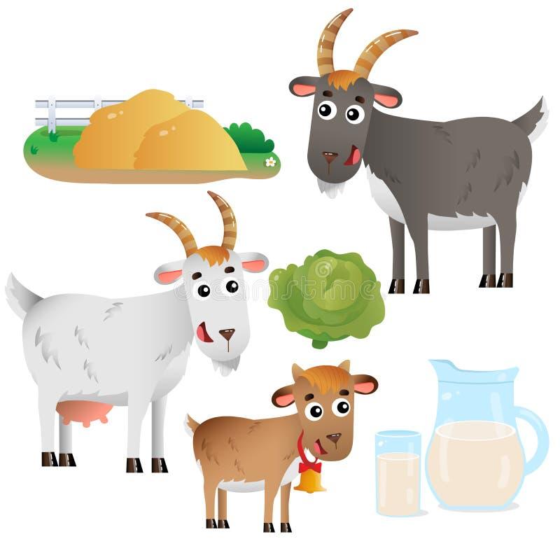 Immagini a colori di mamma e papà capra con bambino su fondo bianco Animali da allevamento Set di illustrazioni vettoriali per ba royalty illustrazione gratis