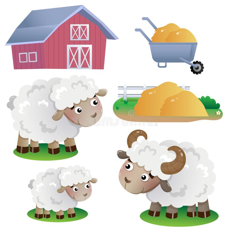 Immagini a colori di pecore da disegno con fieno e fieno su fondo bianco Animali da allevamento Set di illustrazioni vettoriali p illustrazione vettoriale