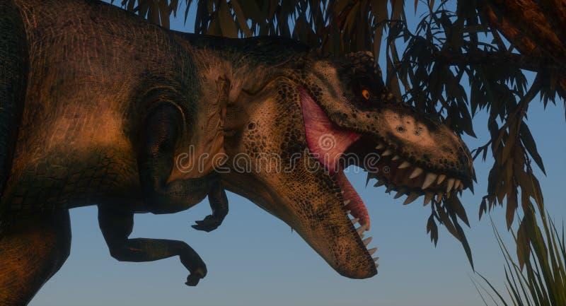 Immagini 3d ad alta risoluzione estremamente dettagliate e realistiche di un dinosauro estinto durante il periodo giudiziario royalty illustrazione gratis