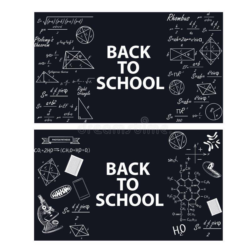 Immagini degli strumenti educativi e delle formule su un bordo di gesso illustrazione di stock
