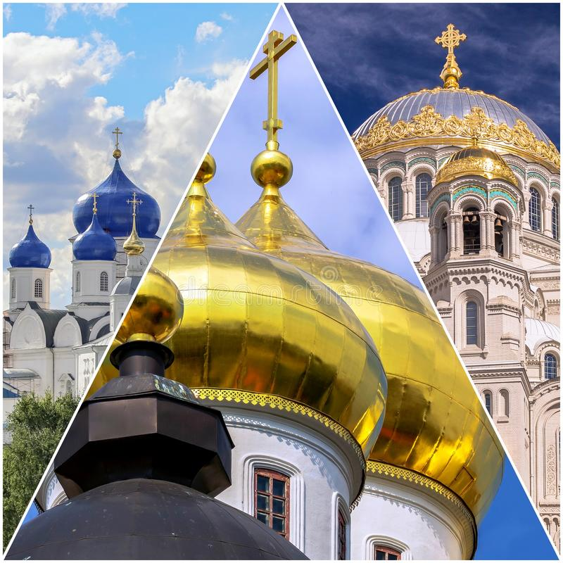 Immagini del collage della cupola dell'oro delle chiese ortodosse russe fotografia stock libera da diritti