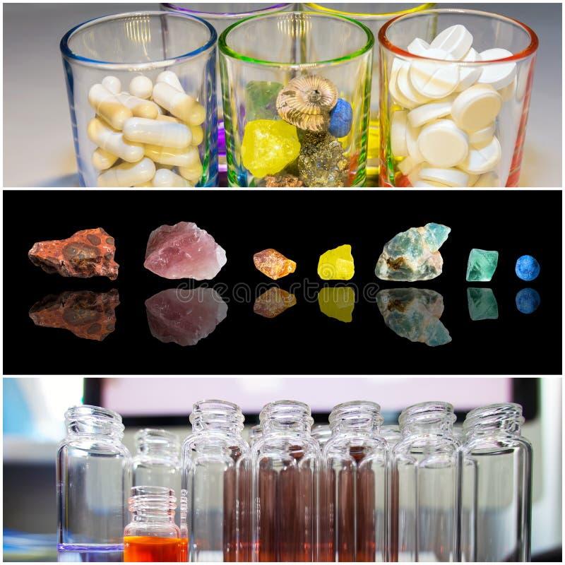 Immagini del collage su sviluppo scientifico delle droghe, delle pillole e delle vitamine fotografie stock libere da diritti