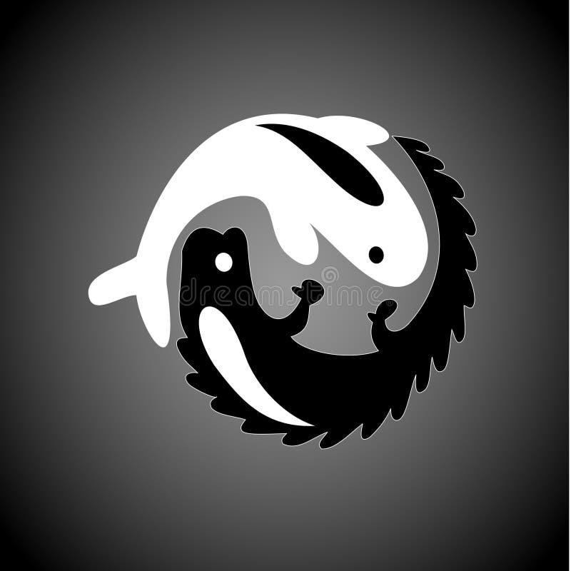 Immagini del pesce e dei coccodrilli illustrazione vettoriale