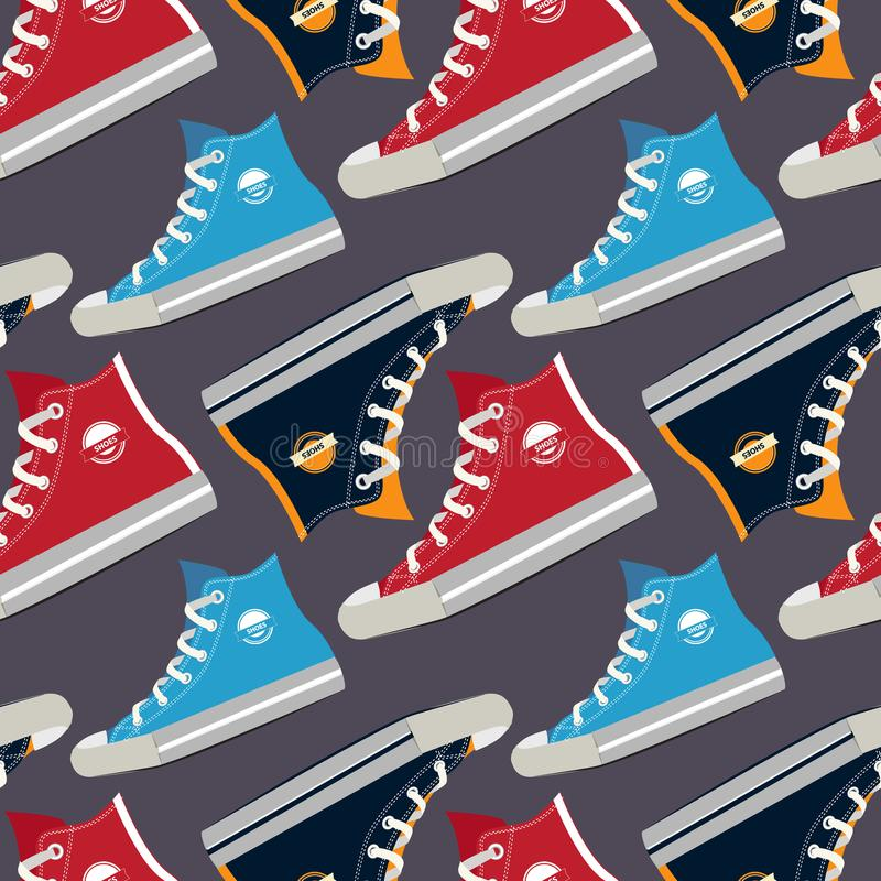 Immagini delle scarpe da tennis colorate Vector il reticolo senza giunte royalty illustrazione gratis