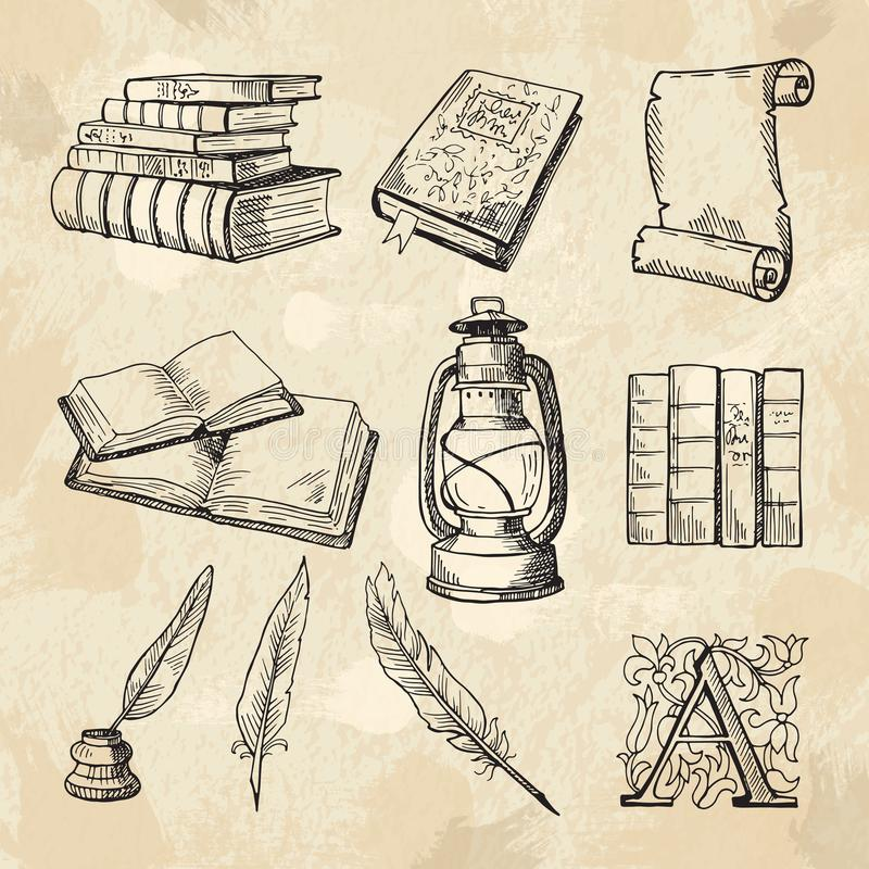 Immagini di concetto della letteratura Quaderni da disegno d'annata della mano e strumenti differenti per gli scrittori royalty illustrazione gratis