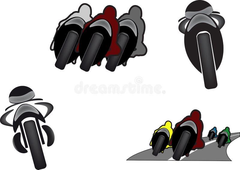Immagini di moto in varie posizioni nel viaggio adesivo illustrazione di stock
