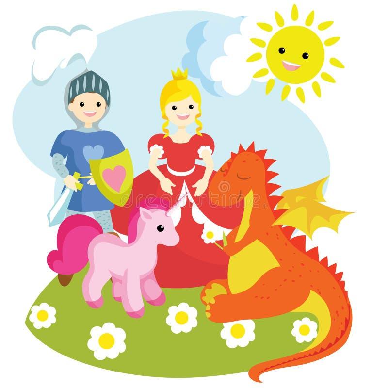 Immagini di un cavaliere, di una principessa, di un unicorno e del drago illustrazione vettoriale