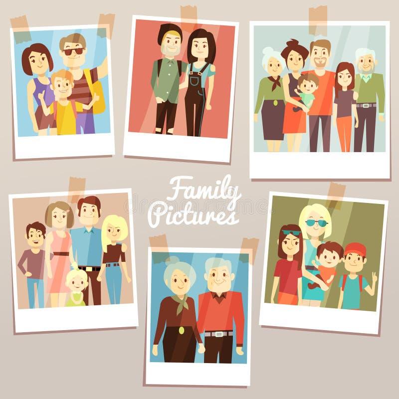Immagini felici della famiglia con l'insieme differente di vettore delle generazioni Memorie dei familys della foto royalty illustrazione gratis