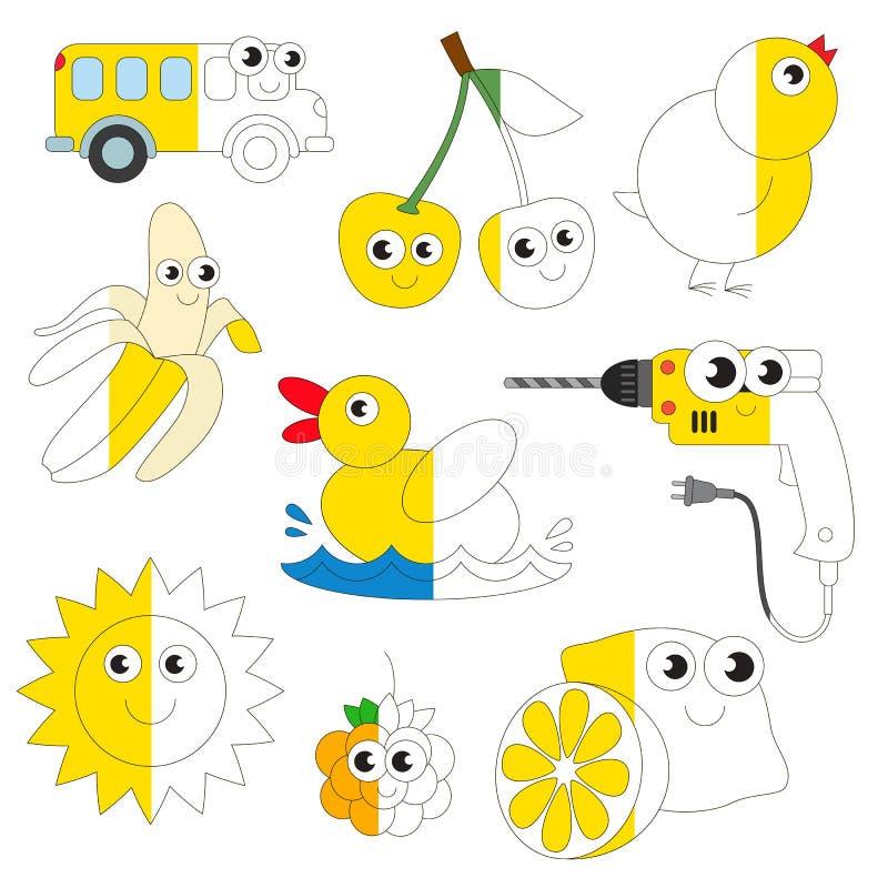 Immagini gialle divertenti di colore, il grande gioco del bambino da colorare dall'esempio mezzo illustrazione vettoriale