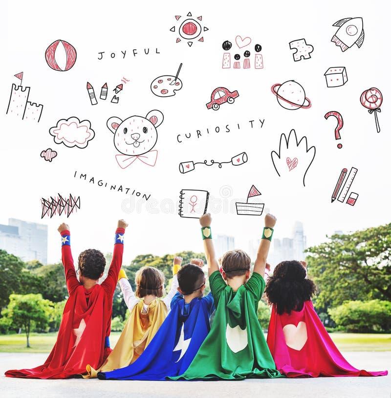 Immagini il concetto dell'icona di istruzione di libertà dei bambini fotografia stock libera da diritti