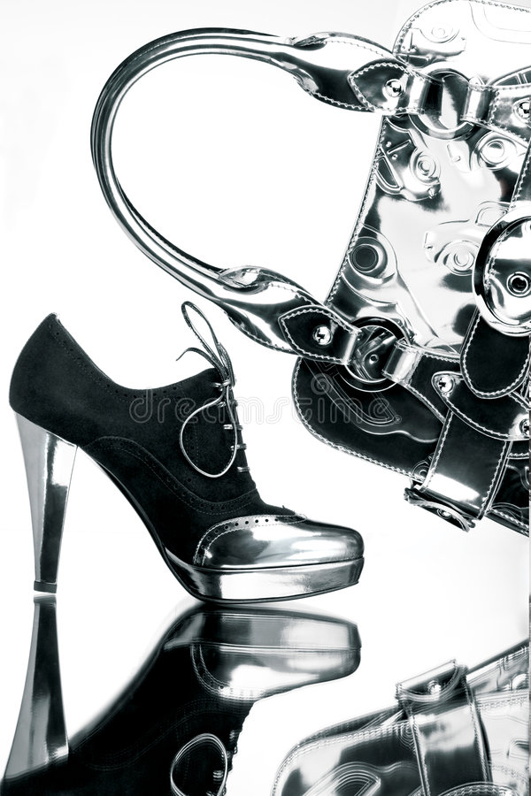Immagini il pattino ed il sacchetto d'argento fotografia stock