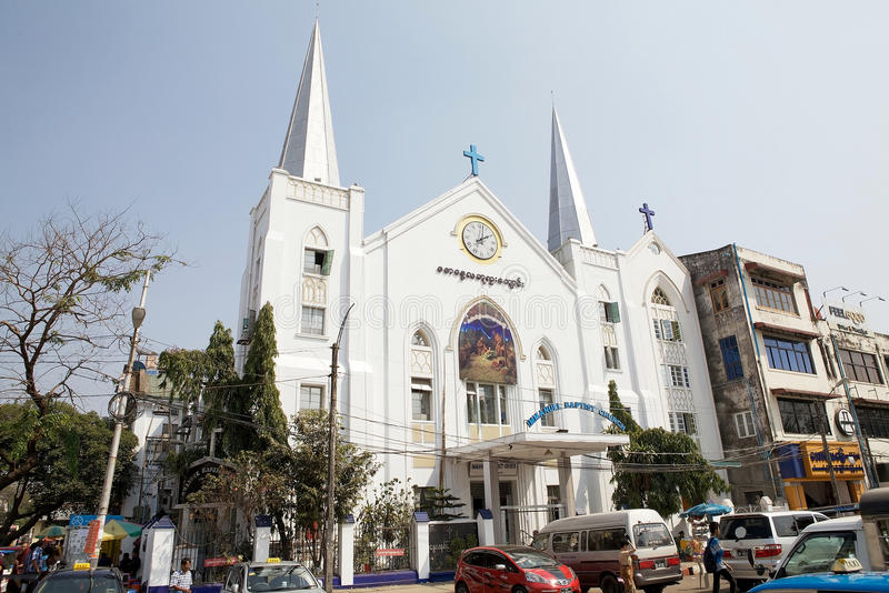 Immanuel Baptist church, Yangon, Myanmar royalty free stock photo