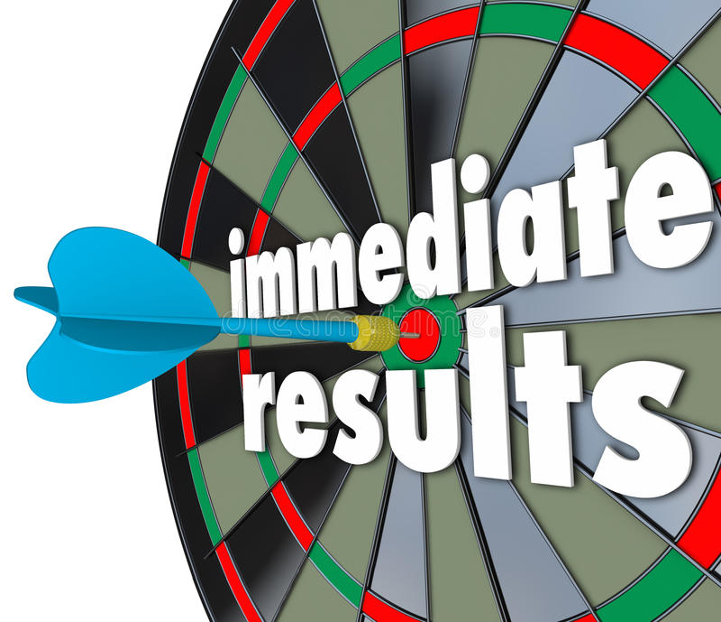 Immediate Results Dart Board Meeting Goal Outcome Now. Immediate Results 3d words on a dart board to illustrate meeting a goal or outcome fast royalty free illustration