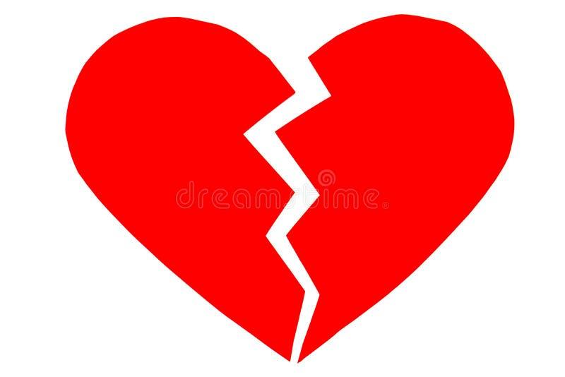 Immense chagrin/coeur brisé rouges fermez-vous d'un coeur brisé de papier images stock