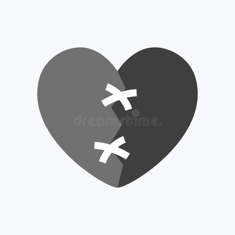 Immense chagrin ou coeur bris? noir illustration stock